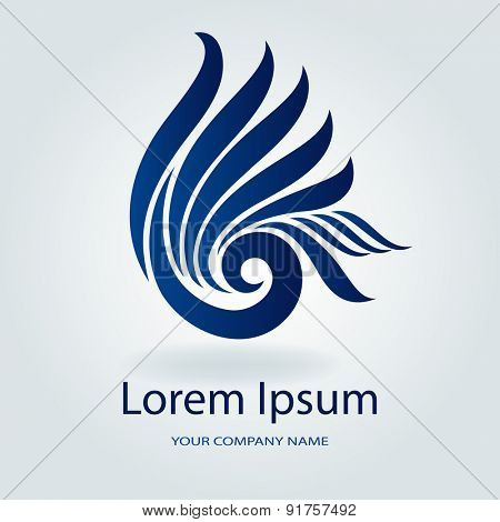 Abstract blue wavy emblem or logo design vector template.