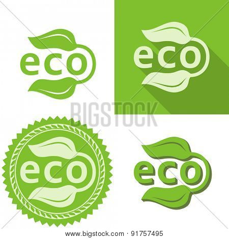 Green leaves eco sign vector template.