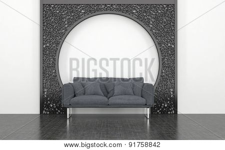 Plush Grey Love Seat with Cushions in front of Decorative Metal Arch in Room with White Wall and Dark Floor. 3d Rendering.