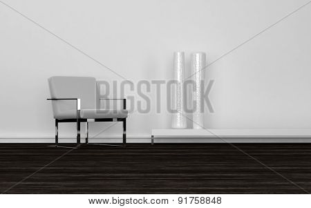 Contemporary Grey and Metal Chair and Tall White Vases on Low Shelf in Empty Room with Dark Wood Floors and White Walls. 3d Rendering.