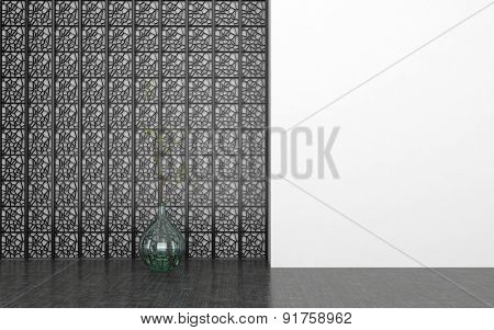 Round Glass Vase in front of Decorative Metal Screen in Empty Room with Dark Floor and White Wall. 3d Rendering.