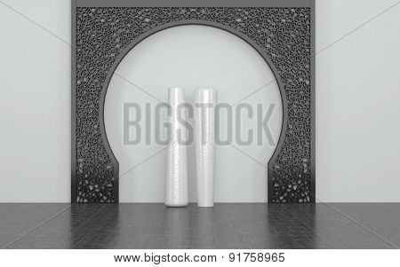 Two Tall White Vases in Center of Decorative Metal Arch Against White Wall in Room with Dark Floor. 3d Rendering.