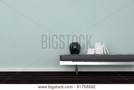 Contemporary Black Vase and Stack of Books on Leather Bench in Empty Room with Dark Wood Floor and Light Green Wall. 3d Rendering.