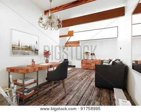 Office and Sitting Room in Interior of Modern Home with Wood Accents and Contemporary Furnishings. 3d Rendering.