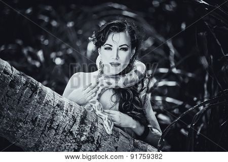 Black And White Portrait Of The Beatiful Girl With Dangerous Snake In The Tropical Jungle
