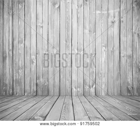 old room, white wooden wall, vector