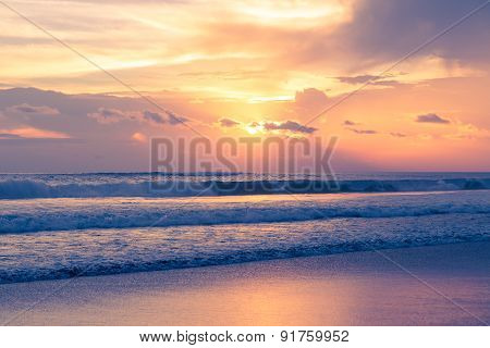 Beautiful Sunset Above The Sea. Summer Vacation Concept.