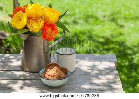 Colorful tulips bouquet in watering can, cookies and milk on garden table. Focus on flowers