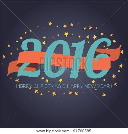 Happy New Year 2016 Ribbon With Stars.