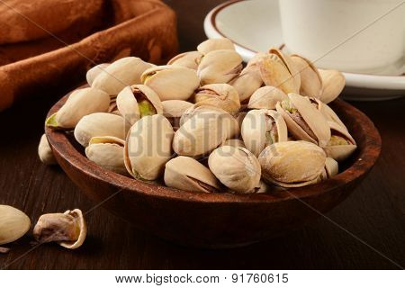 Wooden Bowl Of Pistachios