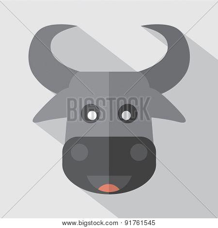 Modern Flat Design Buffalo Icon.