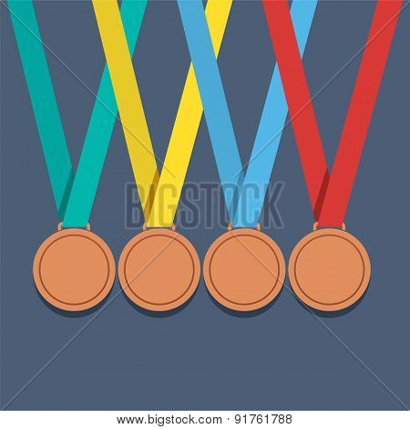 Many Bronze Medals With Colorful Ribbon.