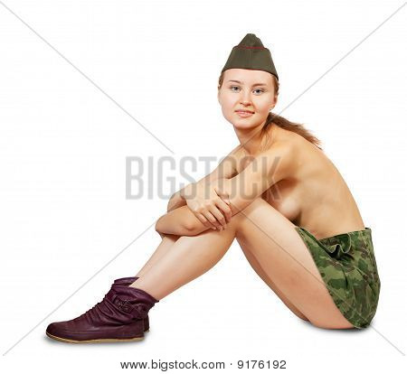 Topless Military Girl