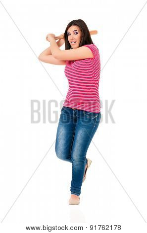 Young girl with baseball bat over white background