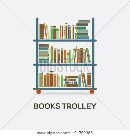 Flat Design Books Trolley.