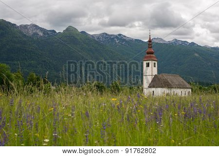Beautiful mountain landscape in the Julian Alps with a church