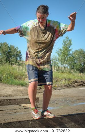 Women participant in Colorado Mud Run