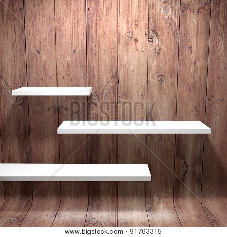 White shelves with wooden wall