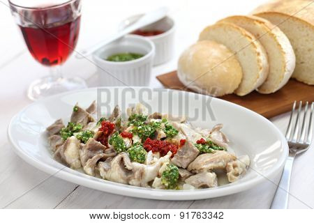 lampredotto, italian food isolated on white background
