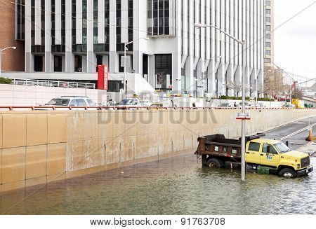 Flooded Battery Park Underpass After Hurricane Sandy