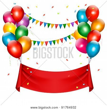 Holiday Birthday Banner With Balloons. Vector.