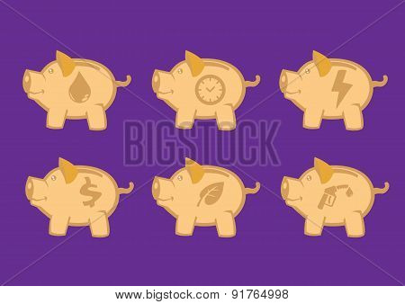Piggy Banks With Symbolic Icons Vector Design Elements