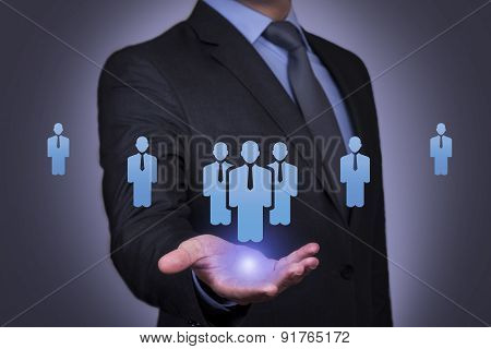Person pushing hologram of human resource icon