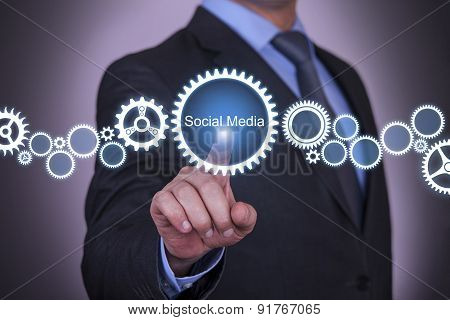 Business Touching Social Media Gear