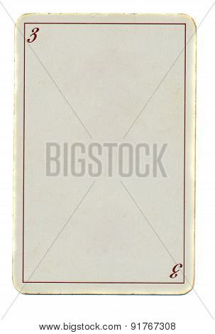 Empty Playing Card Paper Background With Line And Number 3