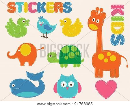 Vector colorful animals set. Stickers  for kids