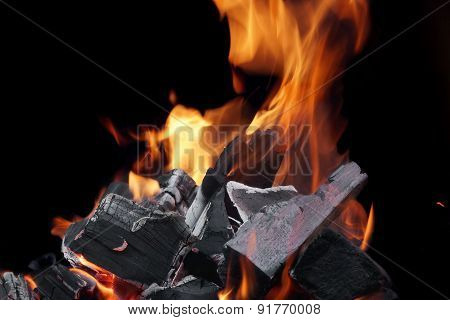 Burning Firewood And Glowing Coals Close-up Background