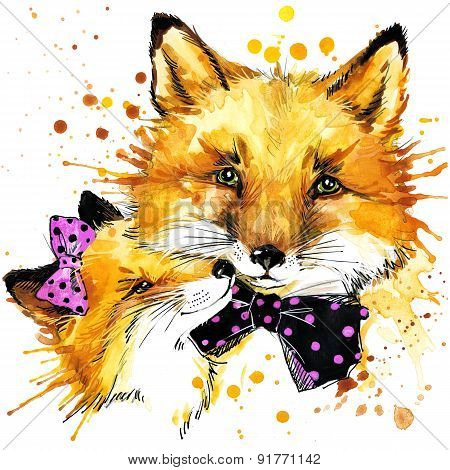 Funny fox family watercolor