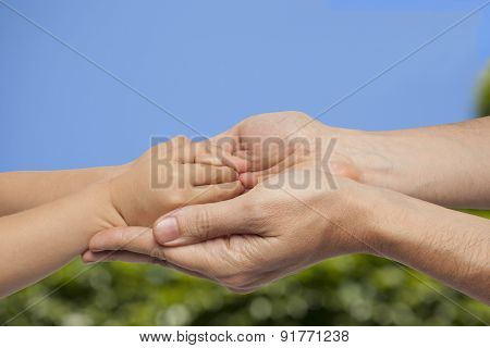 Father And Son Holding Hands On Natural Background