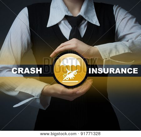 Business Insurance Concept. Man Holding A Symbol Of Accident Insurance, Insurance Against Crash.