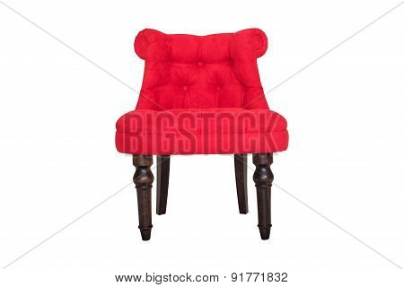 Red Chair In Baroque Style Fabric Velour