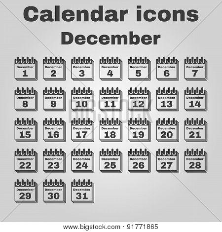The Calendar Icon. December Symbol. Flat