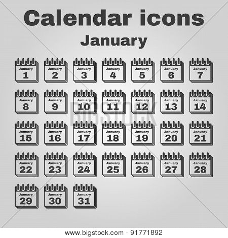 The Calendar Icon. January Symbol. Flat