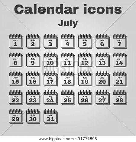 The Calendar Icon. July Symbol. Flat