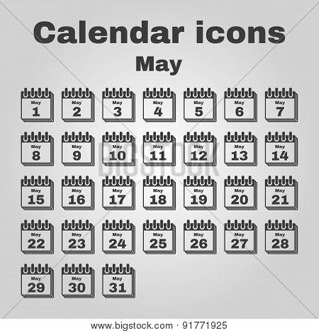 The Calendar Icon. May Symbol. Flat