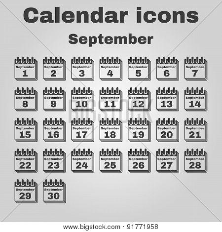 The Calendar Icon. September Symbol. Flat
