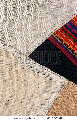 Colorful thai peruvian style rug surface close up. More of this motif & more textiles in my port tat