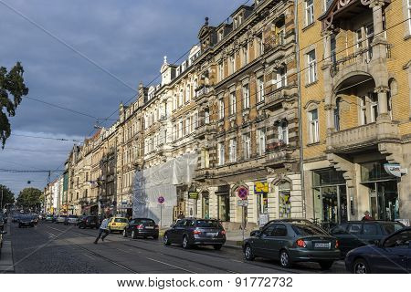 View Of Street With Old Classical Facades In Dresden