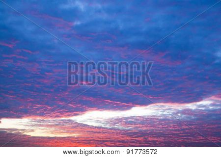 Cloudscape With Pink Clouds