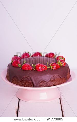 Chocolate Cake With Strawberry. Selective Focus.