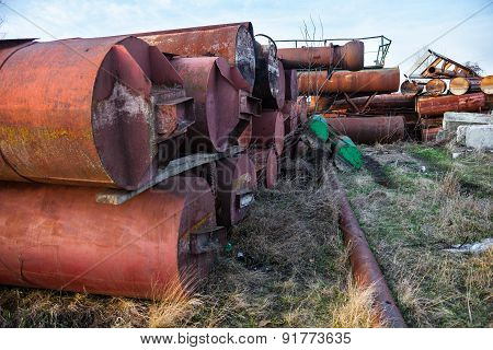 Old Rusty Metal Pipes Stack