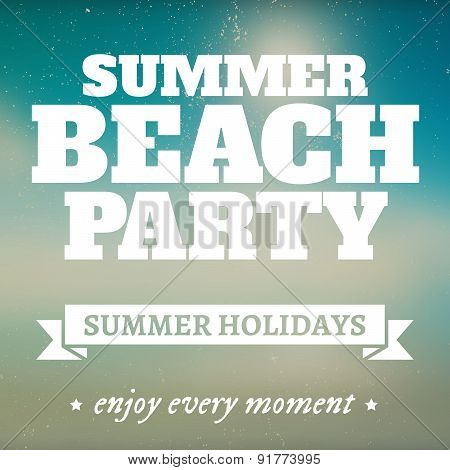Summer beach party page with holidays