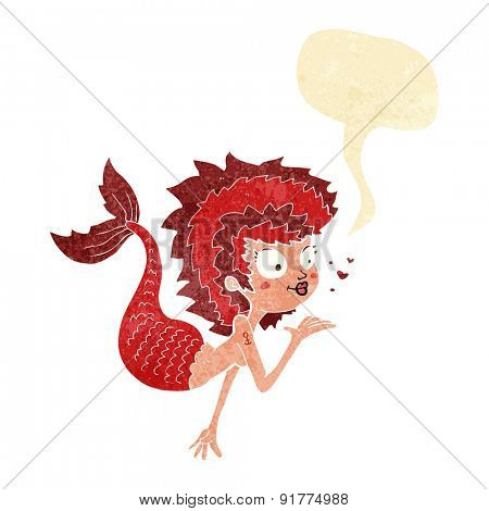 cartoon mermaid blowing a kiss with speech bubble