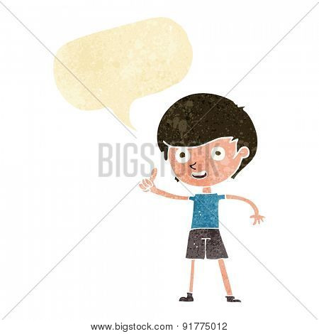 cartoon boy giving thumbs up symbol with speech bubble