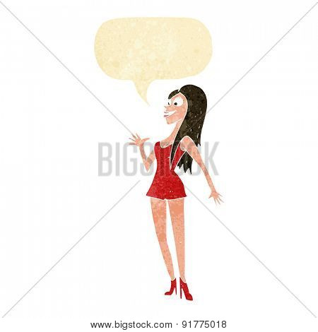 cartoon woman in pink dress with speech bubble