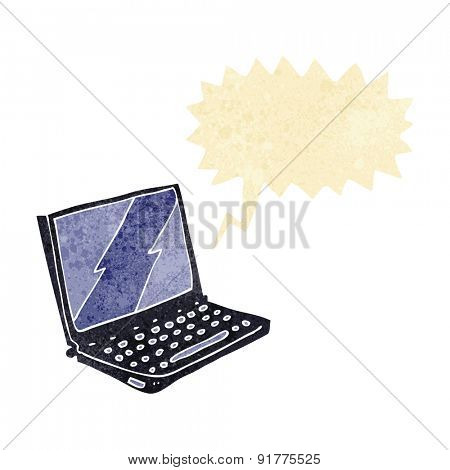 cartoon laptop computer with speech bubble